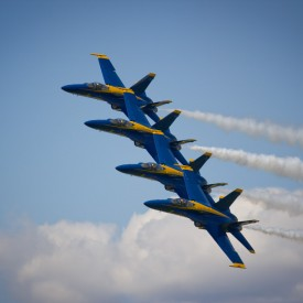 Blue Angels Echelon With Smoke